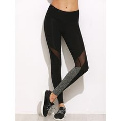 SheIn(sheinside) Color Block Mesh Insert Leggings (565 DOP) ❤ liked on 50d44035ec1