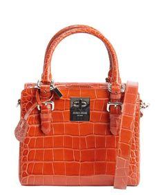 Giorgio Armani burnt orange embossed croc leather convertible top handle bag  Crocodile Handbags d4760170ddf28