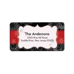 Red Black Snowflake Winter Holiday Return Address Custom Address Label