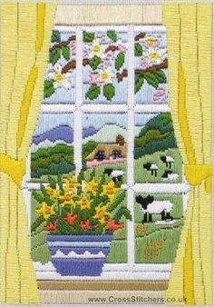 Spring through the window long stitch
