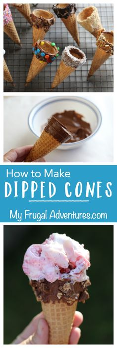 How to Make Dipped Ice Cream Cones- perfect for summer parties or ice cream parties.  So simple with lots of flavor combination ideas!
