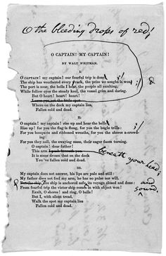 Letter and corrected reprint of Walt Whitman's lovely poem (<3) O Captain, My Captain with comments by the author (9 February 1888)