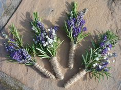 lavender and rosemary bouquet | Lavender and Rosemary Buttonholes wrapped in twine are a stunning ...