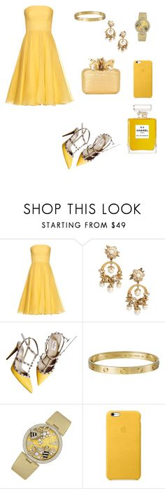 """Bella and the beat (yellowwwwwww)😘😘😘😘"" by doanthanhtra ❤ liked on Polyvore featuring Alexander McQueen, Marchesa, Valentino, Giallo, Cartier, Nancy Gonzalez and Chanel"