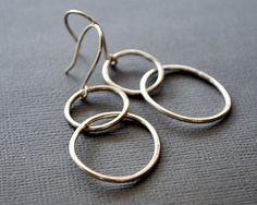 Earrings. Modern Contemporary Simple Sleek Elegant Design. Sterling Silver Jewelry. Handmade by Epheriell on Etsy. Double Hoops.