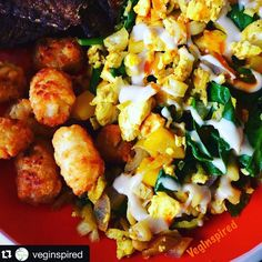 #Repost @veginspired with @repostapp.  Breakfast Bowl! Tofu scamble with onions peppers roasted brussel sprouts and spinach with @lightlifefoods tempeh #bacon and tatertots drizzled with #VegInspired Tahini - maple dressing  -1/4 c tahini - 1 T maple syrup - juice from 1 lemon  Mix. Add water to your desired consistency  #vegan #whatveganseat #noteggs #tofuscramble #brunch #breakfast #homemade #veganbrunch #vegansofig #vegansofinstagram #vegansofinsta #proudtobevegan #vegans #vegannom…