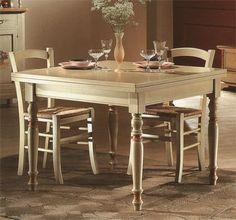 tavolo allungabile in legno con 4 sedie shabby chic bicolore ... - Tavolo Allungabile Con Sedie