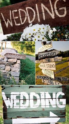 directional signs for ceremony, cocktails, reception, games.  Might do with a vintage white wash and a blue paint...or natural wood and white paint.