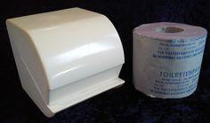DDR,Original-Toilettenpapierhalter,gebraucht+1 Rolle Originalpapier,ungebraucht