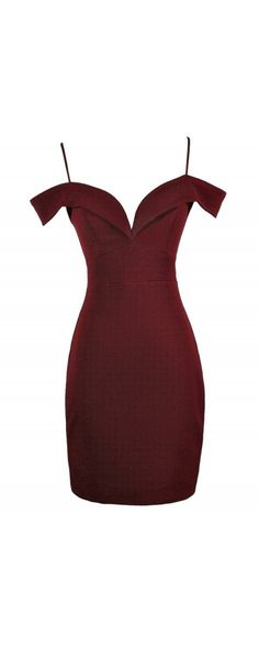 Poison Arrow Off Shoulder Fitted Bodycon Dress in Burgundy www.lilyboutique.com