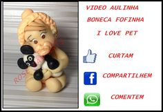 BONECA I LOVE PET / TUTORIAL EM BISCUIT , ROSE BAY ARTS