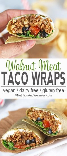 Vegan Taco Wraps with Walnut Meat | These Vegan Taco Wraps have all the tastiness of tacos in a convenient wrap form. They're perfect to take for lunch when you're craving a taco but want it in something other than a taco shell. #vegan, #vegantacos, #vega