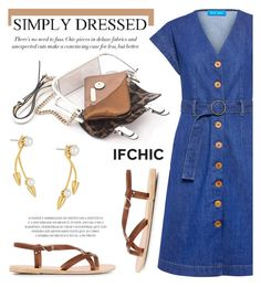 """M.I.H JEANS tucson belted denim dress"" by ifchic ❤ liked on Polyvore featuring M.i.h Jeans, Ancient Greek Sandals, Mohzy and Joomi Lim"