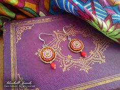 Bollywood earrings - Bead embroidery - Steel ear wires  Add some color to your day with these handmade czech beads earrings ! Technique used is