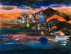 """Xiamen, LED City or The """"Miami"""" of China, 68"""" x 87"""", 2008 Lisa Sanditz"""