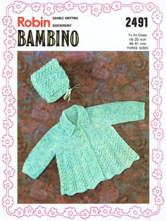 Genuine Vintage 1970s Robin Bambino Babys Lacy Matinee coat & Bonnet Knitting Pattern, very Prettyx