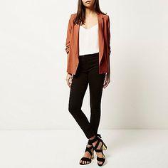 Dark orange ruched sleeve blazer - blazers - coats / jackets - women