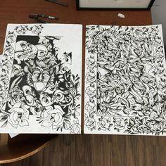 Taking shape now #devil #skull #2015 #inks #blackandwhite #inks #inking #inkwork #dots #design #illustagram #illustrator #illustration #art #artist #artwork #artwork #artoftheday #printing #painting #blackink #tattoo #tattooflash #demons #shading #traditional #2015 #uni #uniwork