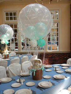 Shop for elegant wedding favors that match your style. Hot Air Balloon Centerpieces, Baby Shower Centerpieces, Bridal Shower Favors, Baby Shower Azul, Baby Boy Shower, Big Balloons, Baby Shower Balloons, Baby Christening, Boy Baptism