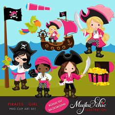 Pirates Ships and Treasure Island Clipart  Girls Instant by mujka