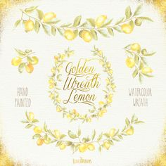 Golden Lemon Wreath & Sprigs Watercolor. Wedding by ReachDreams