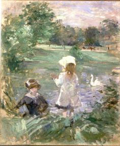 Berthe Morisot, <em>Au Bord du Lac (On the Lakeside)</em>, 1883. Oil on cnavas, 1883. Oil on canvas, 24 x 19 5/8  in. Musée Marmottan Monet. Gift of Annie Rouart.