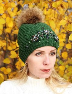 1c068db42a0 Extra Off Coupon So Cheap Knitted hat handmade with rhinestones