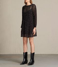 Womens Star Embroidered Dress (Black) - product_image_alt_text_5