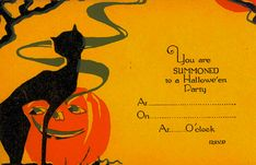 "Vintage Halloween Ephemera ~ ""You are Summoned to a Hallowe'en Party"" Invitation"