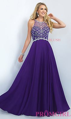 Long Illusion Back Beaded Prom Dress by Blush at PromGirl.com