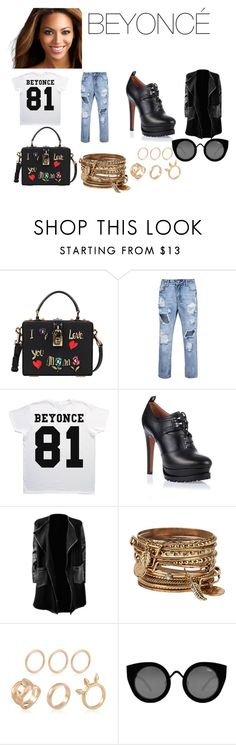 """""""BEYONCÉ Walking The Streets """"Inspired Look"""""""" by holy4trinity ❤ liked on Polyvore featuring Dolce&Gabbana, Alaïa, ALDO, Quay and fashionset"""