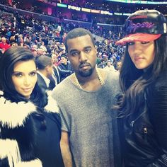 Kanye West, Kim Kardashian, Khloe, Kris & Bruce Jenner COURTSIDE At The Denver Nuggets vs Clippers Game In Los Angeles! [Photos] ~ Gossipwelove
