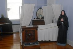 Mother Cabrini's bedroom in the Esplanade building on Cabrini High's campus Mother Cabrini, Catholic High, Lady Of Fatima, Preserve, New Orleans, Saints, France, Spaces, Bedroom