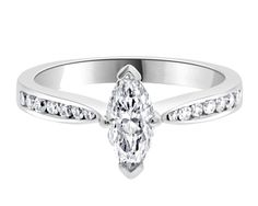 Marquise Side Stone Diamond Ring PR1054. this ring is set with a marquise centre diamond with a tapered band set in a channel setting.