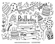 Find Happy Birthday Background Handdrawn Birthday Sets stock images in HD and millions of other royalty-free stock photos, illustrations and vectors in the Shutterstock collection. Thousands of new, high-quality pictures added every day. Creative Birthday Cards, Happy Birthday Signs, Vintage Birthday Cards, Vintage Greeting Cards, Happy Birthday Drawings, Birthday Doodle, Birthday Card Drawing, Cute Doodle Art, Doodle Doodle