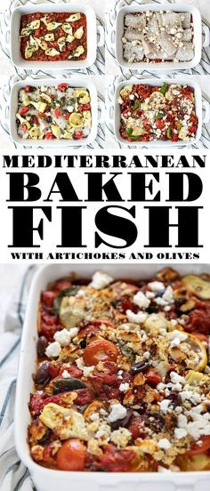 Mediterranean Baked Fish with Artichokes and Olives is an easy, fast, and incredibly healthy dinner perfect for any night of the week. In this beautiful dish, you will discover tender baked white fish smothered in a light tomato sauce and topped with delicious artichoke hearts, capers, lemon, and feta cheese