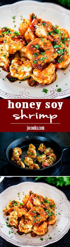 Honey Soy Shrimp - Incredible sweet and salty shrimp ready in just under 15 minutes. A delicious appetizer that's sure to impress your guests!