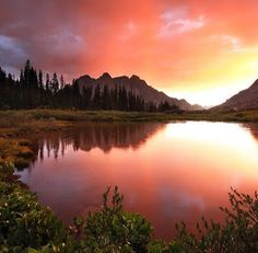 Image by Mostafa Bahra... A brilliant sunset above Animas Mountain deep in the Weminuche Wilderness.