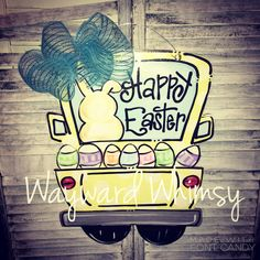 Easter Truck Wooden Cut Out Door Hanger by TheWaywardWhimsy on Etsy https://www.etsy.com/listing/268511663/easter-truck-wooden-cut-out-door-hanger