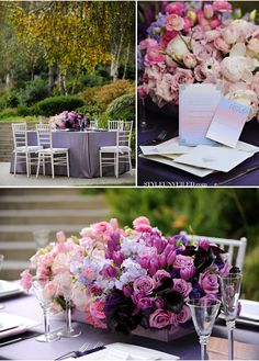 gorgeous purple blossoms pop off of muted lavender or platinum linen.