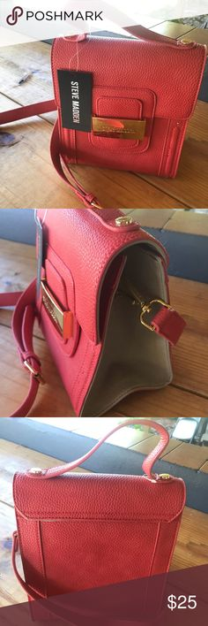 Steve madden crossbody coral bag In perfect condition, never worn. I bought it for a gift but I changed my mind and I do not wear bags like this one. Coral with cream sides. Velvet interior and gold details. Its is on the smaller side but big enough to hold phone, keys, wallet, 2 apples, a kitten/puppy...normal every day things! (Lol) I bought it from Tj Maxx about a year ago or so for $40 but it retails for $68. Steve Madden Bags Crossbody Bags