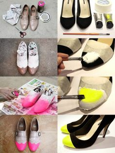 Do your old shoes need some smart shoe decoration job done? Look up these fantastic DIY shoe makeover ideas and tips to transform weary shoes! Cute Shoes, Me Too Shoes, Neon Shoes, Diy Fashion, Fashion Shoes, Shoe Makeover, Do It Yourself Inspiration, Diy Accessoires, Do It Yourself Fashion