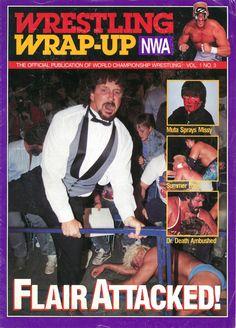 nwa nwa wrestling wrap-up magazine covers ric flair wcw terry funk great muta