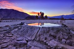 Volcano hot springs pool at Saline Valley CA, in a remote part of Death Valley National Park.