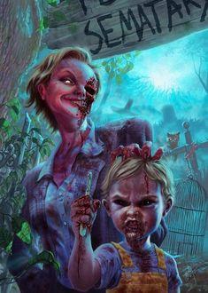 Awesome Pet Sematary artwork by Alvaro León. Horror Icons, Horror Films, Horror Villains, Agatha Christie, Kalter Winter, 17 Kpop, Stephen King Movies, Horror Photos, Pet Cemetery