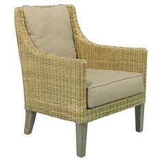 Hand-woven wicker arm chair.Product: ChairConstruction Material: Wicker and cottonColor: Beige$452