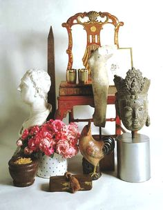 Objects of different origins... associated together, forming a wonderfull and pleasant bouquet to look at and among these an Obelisk ... by designer David Hicks.