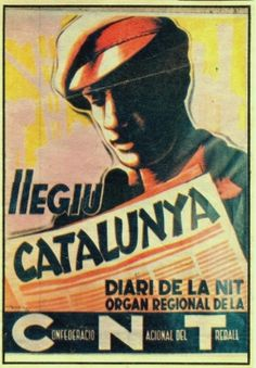 Affiche, 1936, Fontseré, CNT Barcelone, Lisez Catalunya (Catalogne)