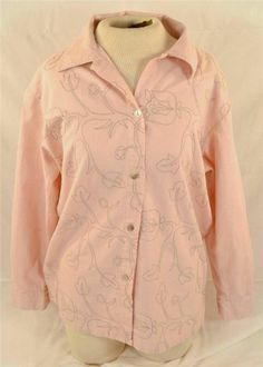 Jane Ashley Ladies Size Large Long Sleeve Peach Color Linen Cotton Blouse