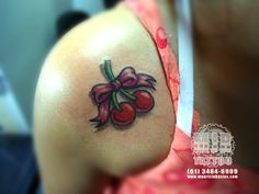 cherries with bow tattoo